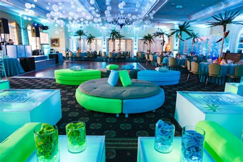 island themed events bat mitzvah party teen lounge with led furniture by