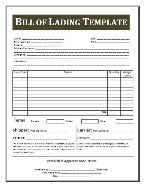 printable sle bill of lading template form real