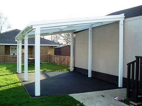 8m Powder Coated Aluminium Free Standing Canopy, Lean to