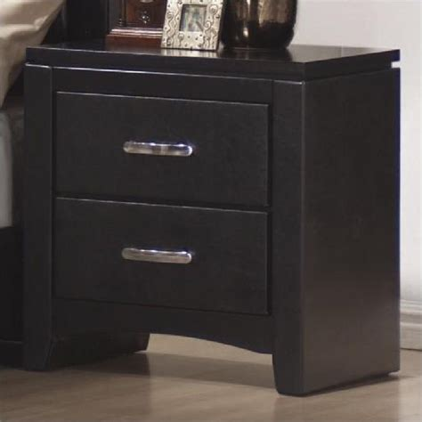 Black Leather Nightstand faux leather 2 drawer nightstand in black 201402
