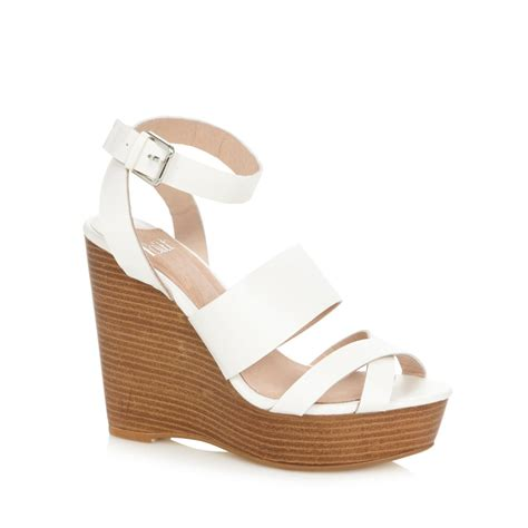 white wedge heel sandals qu heel
