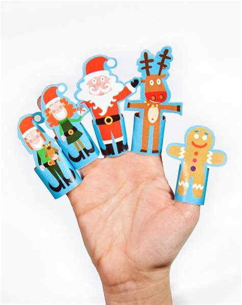 free printable christmas paper toys christmas paper finger puppets printable pdf toy diy