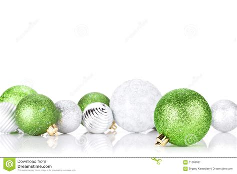 green silver for christmas green and silver baubles stock image image 61708987