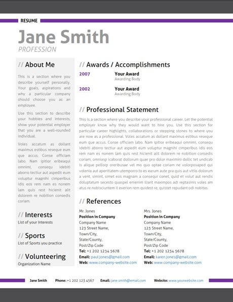 modern resume template out of darkness