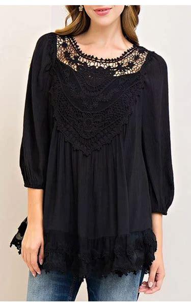 Tunic Fashion 11 tunic keyhole back appliques top black best fashion hq