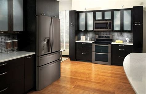 lg black stainless steel appliances modern kitchen