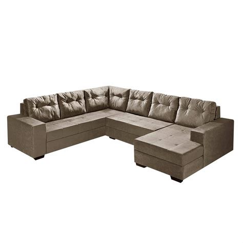 sofas 4 you sof 225 de canto l r paris 4 lugares e chaise suede bege r