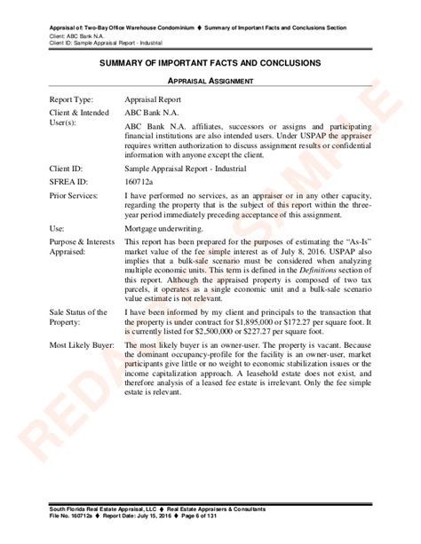Appraisal Opinion Letter Sle Appraisal Report Industrial
