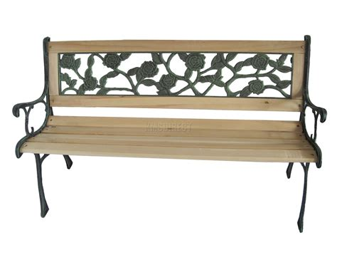 iron patio bench foxhunter outdoor wooden slat 3 seater garden bench rose