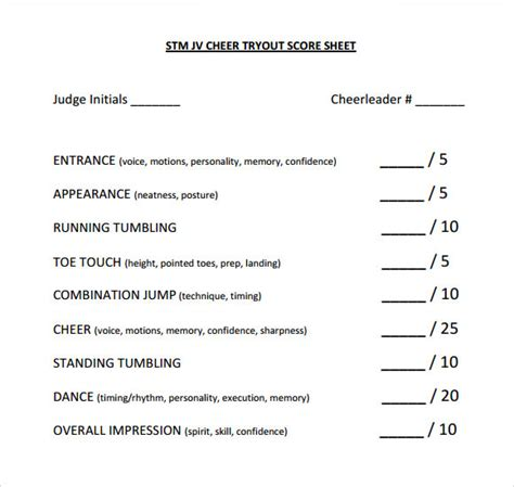 cheerleading tryout score sheet score sheet template the magnificent