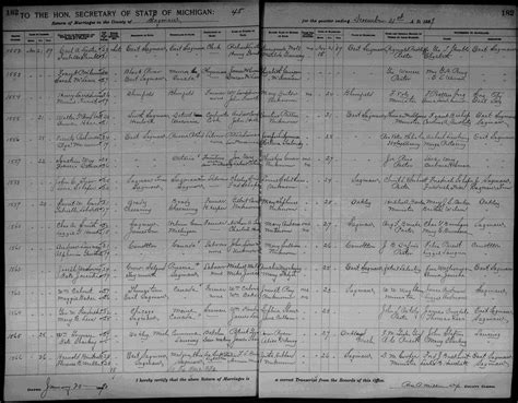 Marriage Records In Michigan Genealogy Data Page 1 Notes Pages