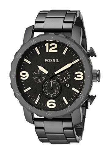 Fossil Jr1356 Blk Steel Black fossil jr1356 nate stainless steel black b0066t2hs2
