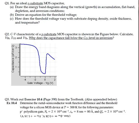 mos capacitor threshold voltage for an ideal n substrate mos capacitor draw the e chegg