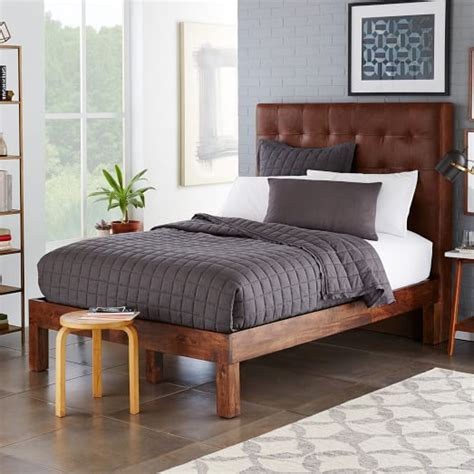 grid tufted headboard grid tufted leather bed molasses west elm
