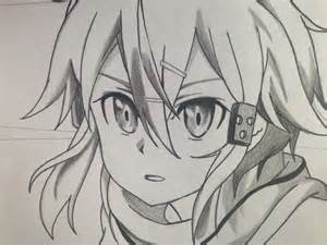 Online Drawing How To Draw Sinon Step By Step Tutorial Sword Art Online