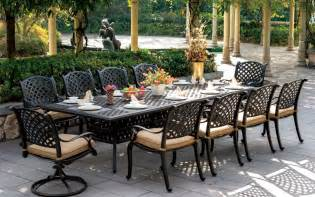 Aluminium Patio Furniture Sets Patio Furniture Dining Set Cast Aluminum 120 Quot Rectangular Table 11pc Nassau