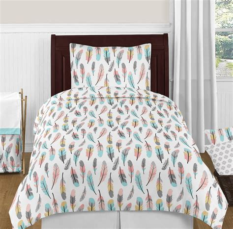turquoise twin bedding modern turquoise blue grey gold feathers girls teen twin
