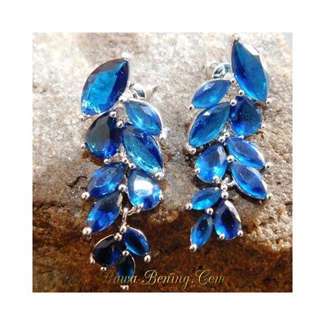 Anting Dewasa Elegan Earring Biru anting fashion wanita bahan gold filled 19k daun biru