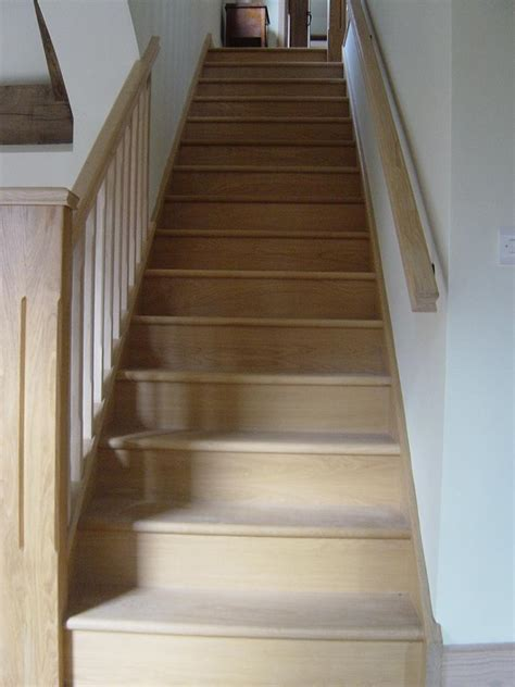 restaining banister oak straight stairs square stop chamfer1317 jpg 768 215 1 024