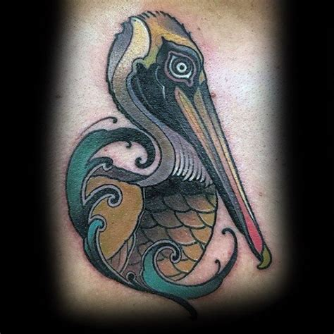 pelican tattoo 50 pelican tattoos for water bird design ideas