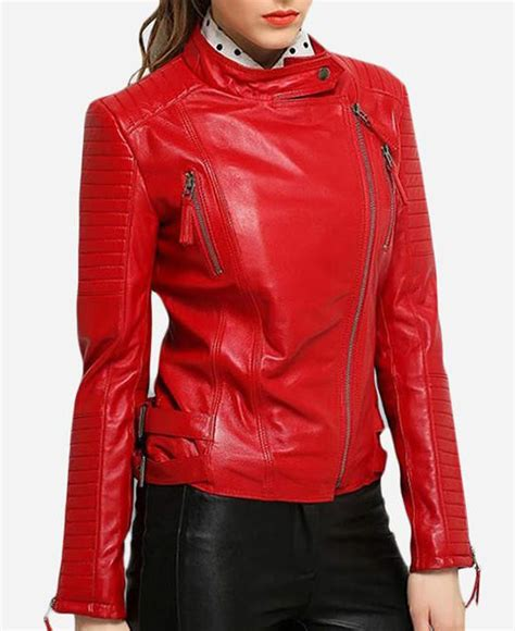 padded leather motorcycle jacket asymmetrical padded sleeves womens red leather motorcycle