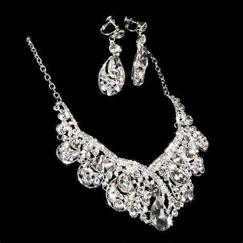 Rhinestone Necklace Earring bling wedding bridal prom jewelry rhinestone