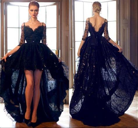 Black Dresses Hi Lo Prom Gown black lace prom dresses 2017 hi lo prom dress with half