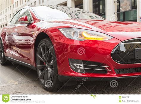 Is Tesla An American Company Detail Of Tesla Model S Car In Milan Italy Editorial