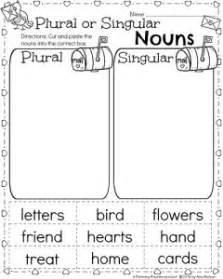 1st grade nouns worksheets for february plural and singular nouns