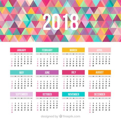 printable calendar 2018 colorful 2018 calendar with colorful triangles vector free download