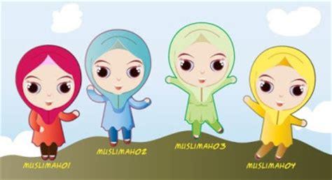 gambar gambar kartun muslim  muslimah anak gambat