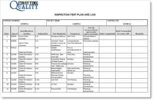 Template For Test Plan by Inspection Test Plan Form Completed Exle