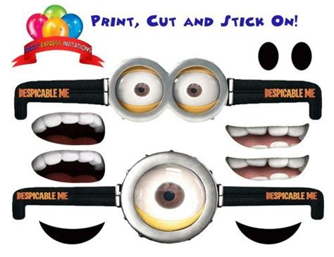 minion overall template despicable me minion eye goggles for favors
