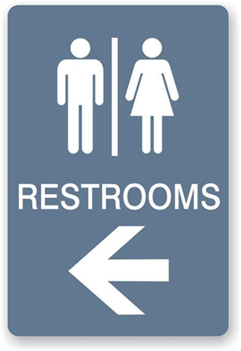 directional restroom sign unisex bathroom sign just