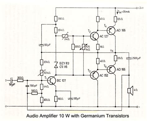 transistor guitar lifier schematic 10 w audio lifier with germanium transistors electronic schematics audio