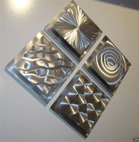abstract metal wall set of 4 silver modern metal wall sculptures abstract decor by jon allen ebay