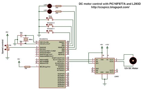 speed of a dc motor using pwm dc motor with pic16f877a and l293d proteus