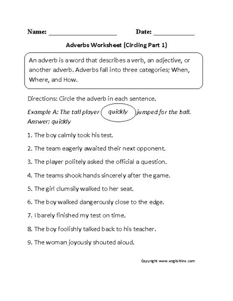 circling adverbs worksheet part 1 sexy
