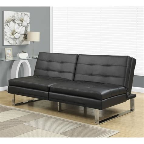 Pillow Top Sofa Monarch Leather Pillow Top Split Back Convertible Sofa In Black I 8948