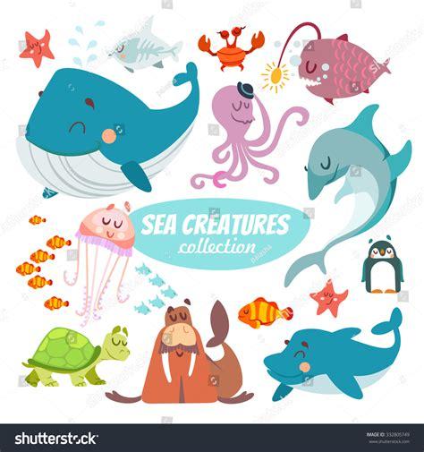 Big Set Of 7 big set sea creatures isolated stock vector