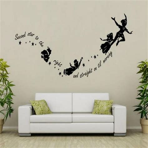 home decor vinyl wall art wall art designs wall art for home tinkerbell second star to the right peter pan home wall