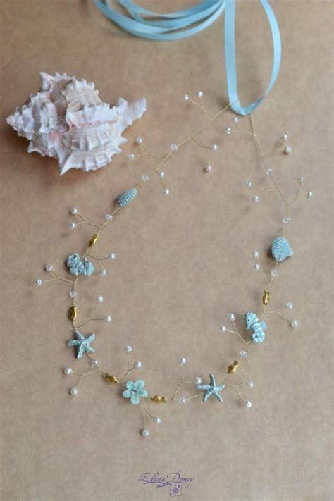 starfish hair accessories by hair comes the bride seashell wedding crown beach bridal crown light blue hair