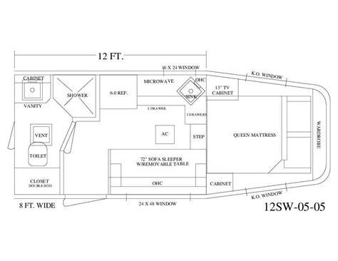 trailer living quarter floor plans living quarter trailer 12 wall with