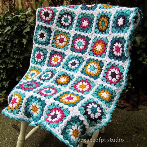 crochet granny square peaceofpi studio crochet square flower blanket
