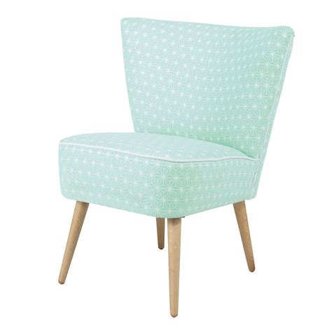 patterned armchairs cotton patterned vintage armchair in sea green scandinave maisons du monde