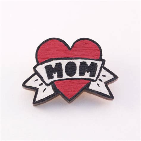 i heart mom tattoo i painted brooch by miss