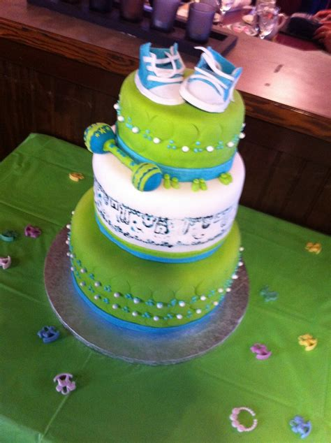 Blue And Green Themed Baby Shower by Lime Green And Blue Baby Shower Cake Golf Themed Baby