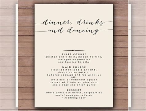 printable dinner menu template invitation template