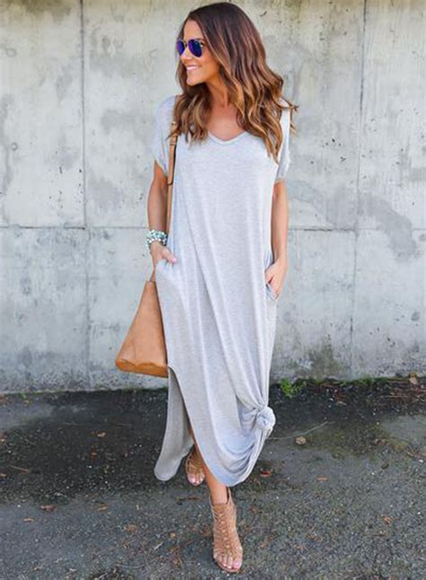 Sleeve Slit Side V Neck Dress v neck sleeve fit side slit maxi dress