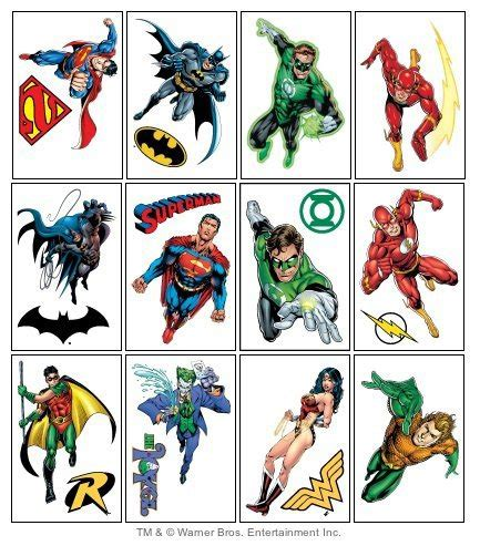 justice league tattoos dc comics justice league temporary tattoos set of 12